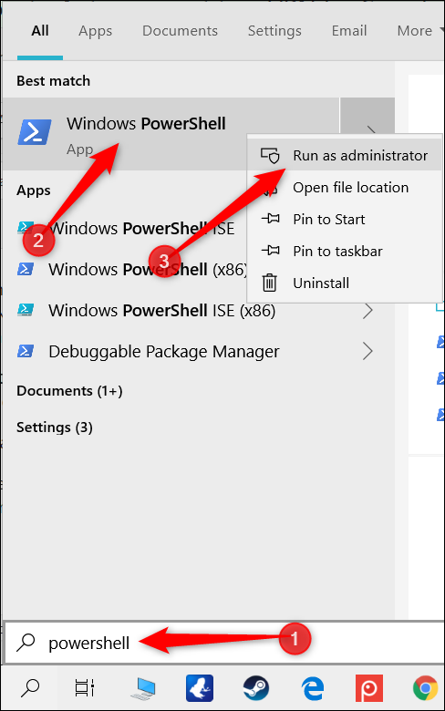 """Type """"PowerShell"""" in the search bar, right-click """"Windows PowerShell,"""" and then click """"Run as Administrator."""""""