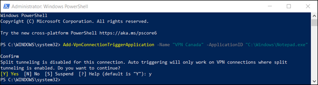 "The ""Y"" command to confirm split tunneling is disabled by default in a PowerShell window."