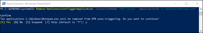 """Y"" confirming the deletion of an auto-trigger in a PowerShell window."
