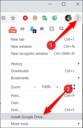 """Click the three dots in the top-right corner, and then click """"Install Google Drive."""""""