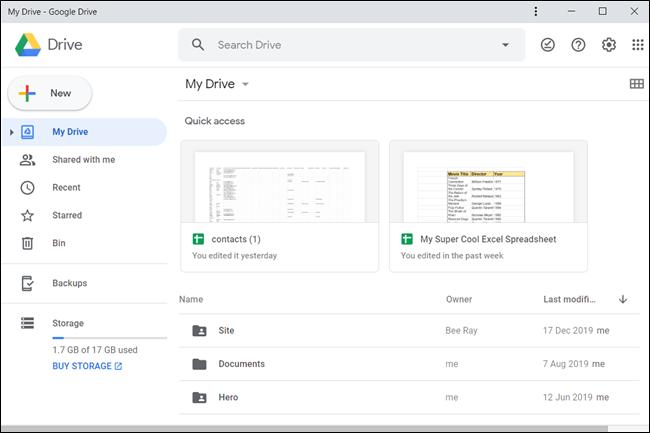 The Google Drive PWA interface.