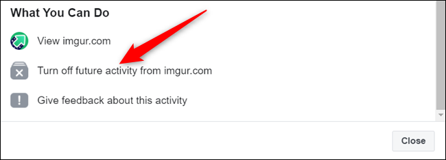 """Click """"Turn off future activity from..."""""""