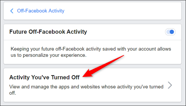 "Click ""Activity you've turned off."""