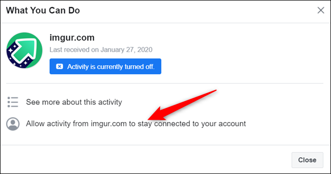 """Click """"Allow activity from..."""" to reinstate activity connected to your account from this app or website."""