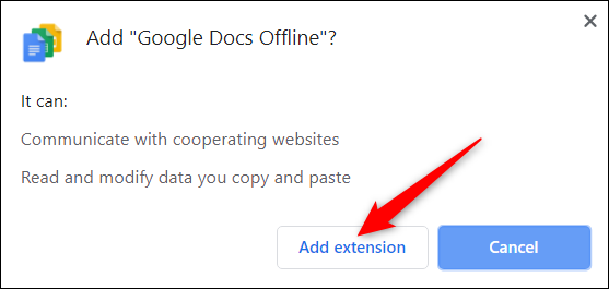 "Click ""Add extension."""