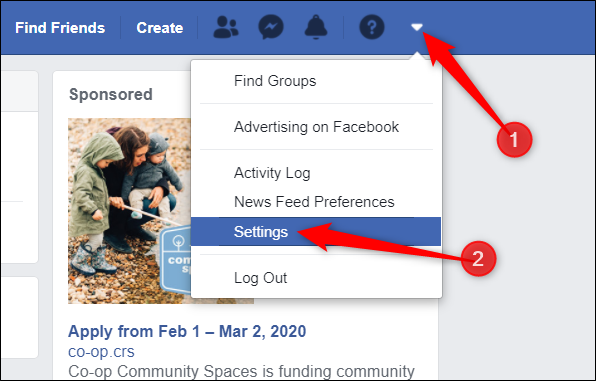 Navigate to your Facebook Settings.