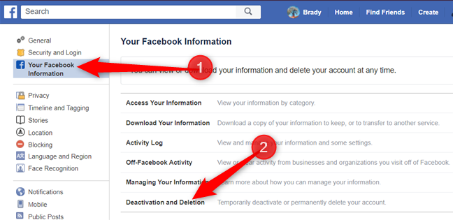 """Click on """"Deactivation and deletion"""" from the options below."""