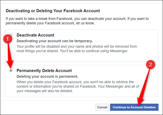 """Select """"Permanently delete account"""" and click """"Continue to account deletion"""" to proceed."""