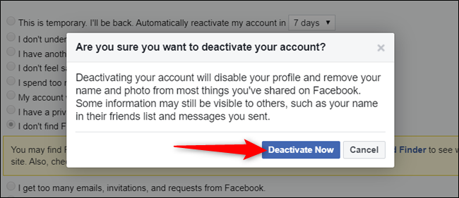 "Click ""Deactivate now"" after you've read the warning."