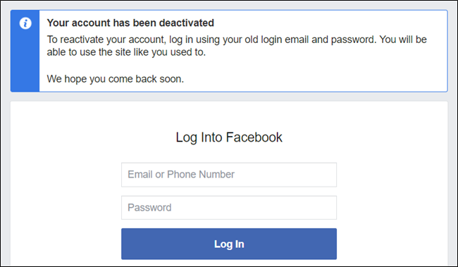 Your account has now been deactivated. Sign back in to reactivate it in the future.