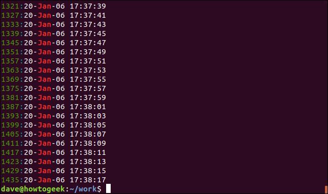 Output from grep -n jan geek-1.log in a terminal window