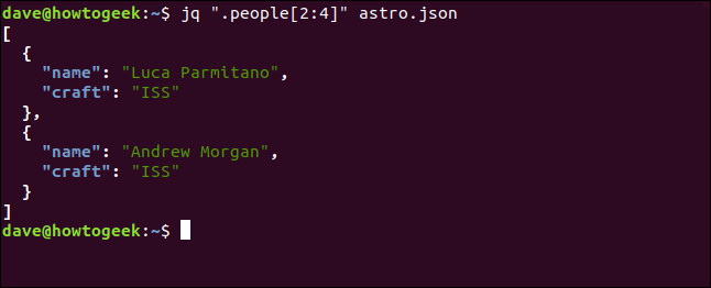 "The ""jq "".people[2:4]"" astro.json"" command in a terminal window."