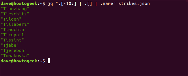"The ""jq "".[-10:] 