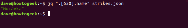"The ""jq "".[650].name"" strikes.json"" command in a terminal window."