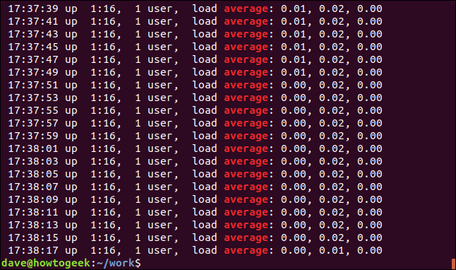 Output from grep -i Average geek-1.log in a terminal window
