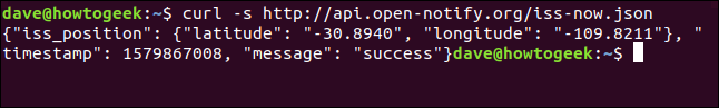 """The """"curl -shttp://api.open-notify.org/iss-now.json"""" commandin a terminal window."""
