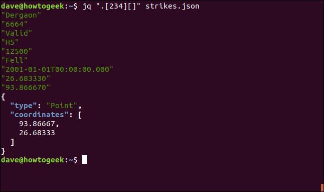 """El comando """"jq"""" [234] [] """"strikes.json"""" en una ventana de terminal."""