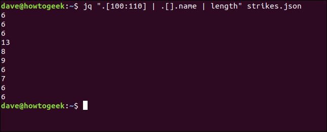 "The ""jq "".[100:110] 