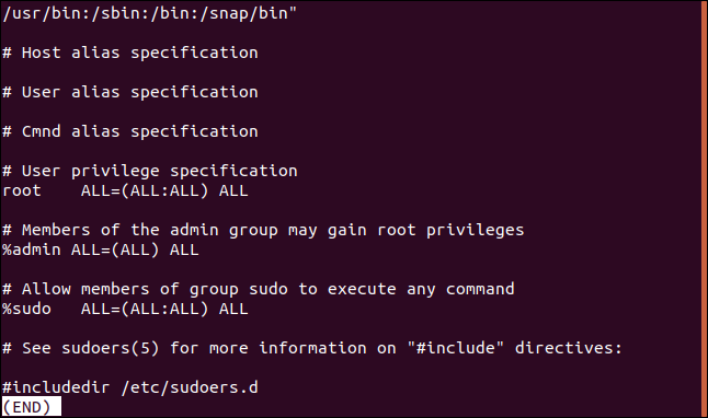 Contents of the /etc/sudoers file in a terminal window