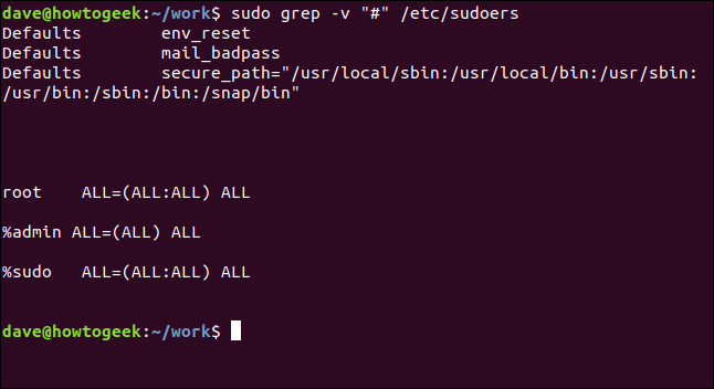 "sudo grep -v ""#"" /etc/sudoers in a terminal window"