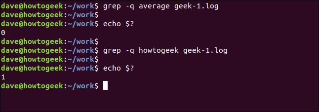 grep -q average geek-1.log in a terminal window