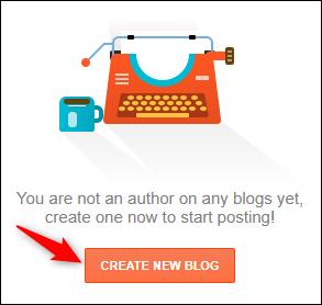 "Blogger's ""Create New Blog"" button."