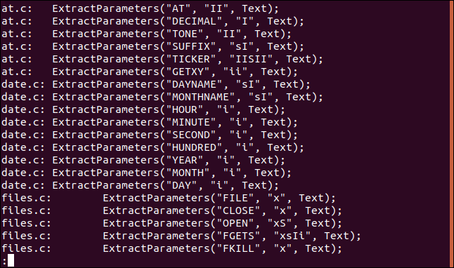 """Output from grep """"ExtractParameters"""" *.c 