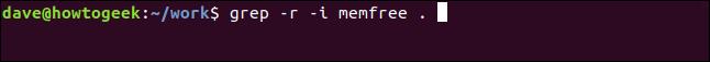 grep -r -i memfree . in a terminal window
