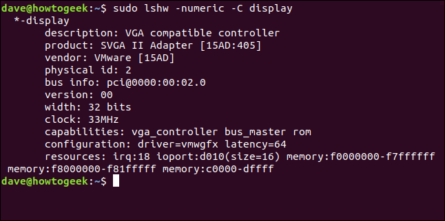 "The ""sudo lshw -numeric -C display"" command in a terminal window."
