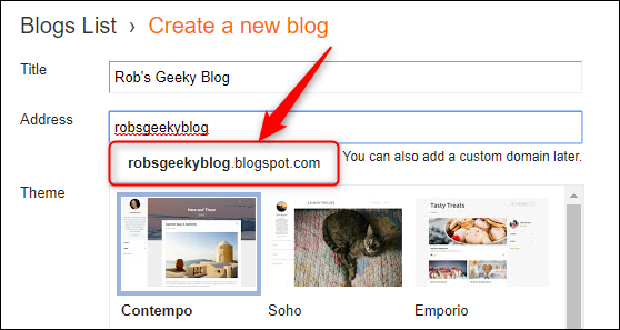 The dropdown showing the full blogspot address.