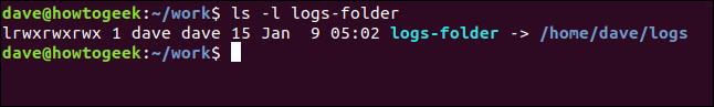 ls -l logs-folder in a terminal window