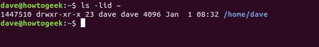 "El comando ""ls -lid ~"" en una ventana de terminal."