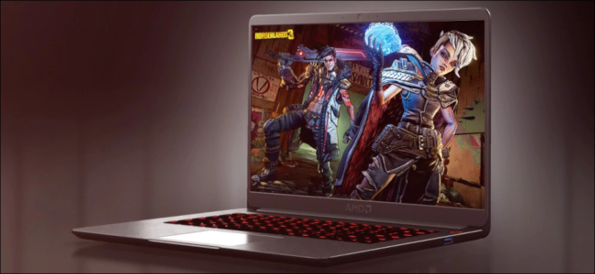 An AMD-branded laptop on a purple background with a Borderlands 3 promtional image on the laptop screen.
