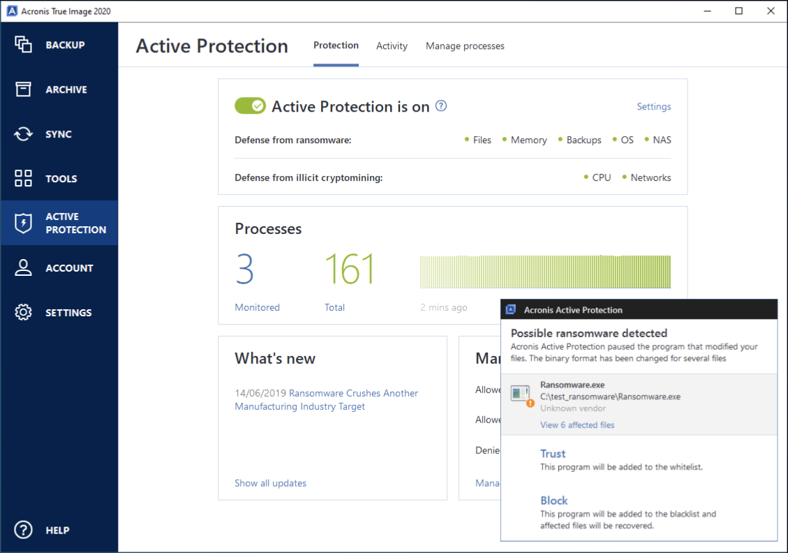 "The ""Active Protection"" menu in the Acronis True Image ransomware software."