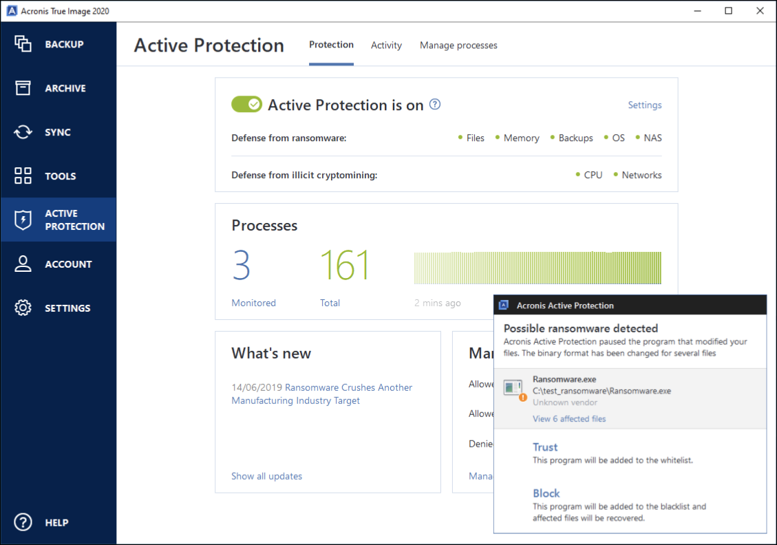 """The """"Active Protection"""" menu in the Acronis True Image ransomware software."""