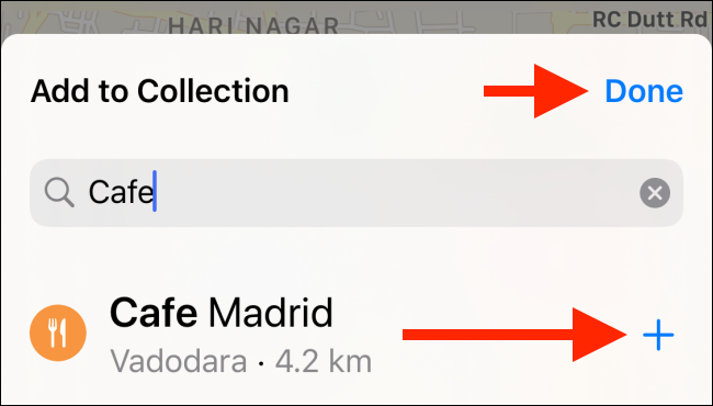 """Tap the plus sign (+) to add a place to your collection, and then tap """"Done."""""""