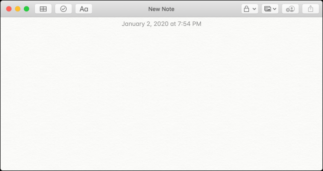 "A blank ""New Note"" in the Notes application."