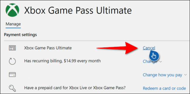 Cancel Xbox Game Pass Console