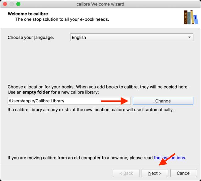 Change Calibre Library folder and click Next