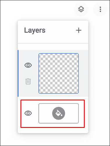 To change the canvas color in Google Chrome Canvas, click the layers menu in the top-right, then click the paint bucket icon