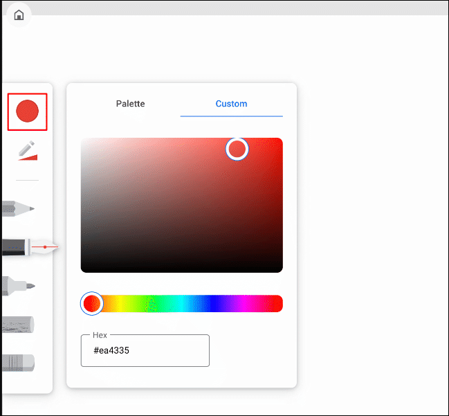 The drawing color selection tool in Google Chrome Canvas, with options displayed
