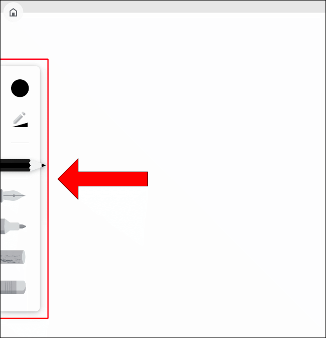 The drawing tools menu in Google Chrome Canvas
