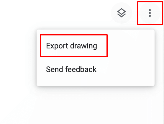 To export a Google Chrome Canvas drawing during editing, click on the hamburger settings menu icon in the top-right, then click Export Drawing