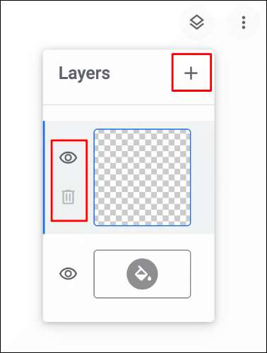 The Layers menu in Google Chrome Canvas with options to add, delete or hide layers