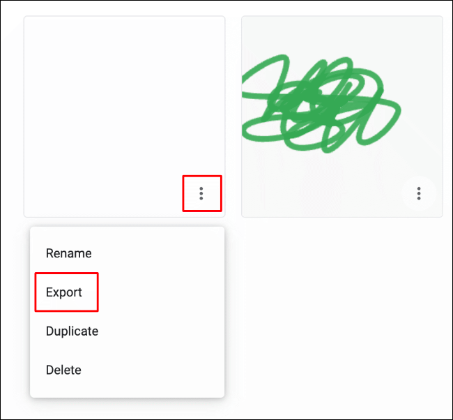 To export your Google Chrome Canvas drawing outside of the editing screen, click on the hamburger icon for the drawing, then click Export