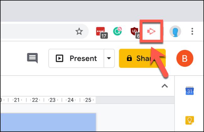 Press the Screencastify button in the top-right of Chrome