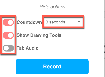 The additional configuration options for Screencastify in Chrome