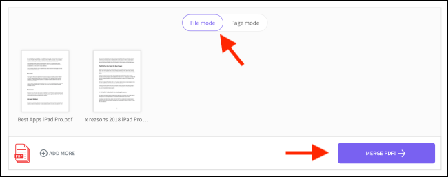 Click on Merge PDF from File mode