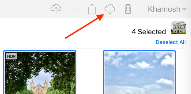 Click the Download button in iCloud.