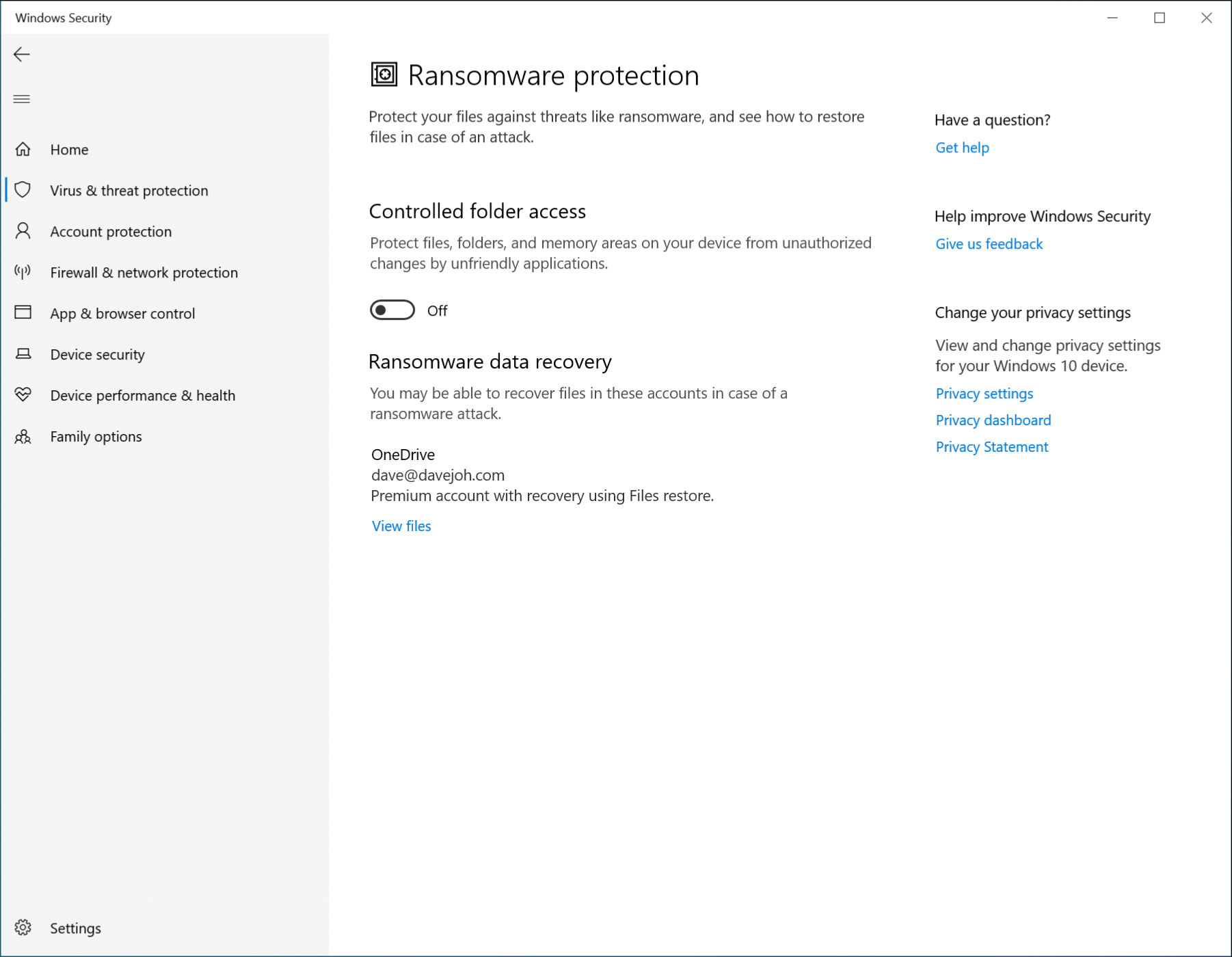 "The ""Ransomeware Protection"" menu in Windows Defender."